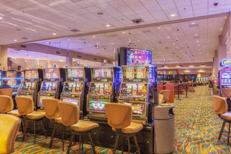 Picture of several slot machines on the casino floor