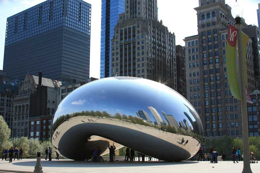 Picture of the Chicago Bean, a popular icon in downtown Chicago.