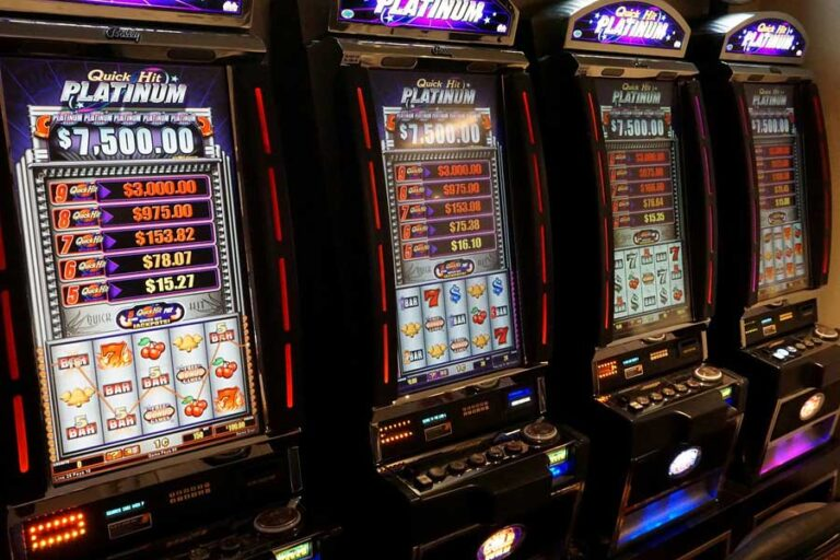 Upclose picture of a slot machine in a casino