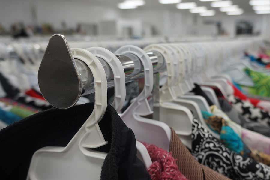 Picture of clothing in a thrift shop